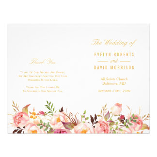 Elegant Chic Gold Floral Folded Wedding Program