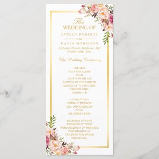 Elegant Chic Gold Frame Floral Wedding Program