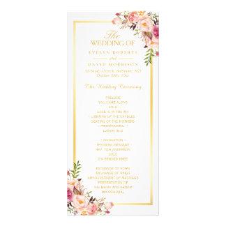 Elegant Chic Gold Frame Floral Wedding Program Rack Card Template