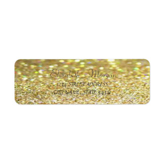 Elegant Chic  Gold Glittery Bokeh  Address Label