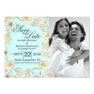 "Elegant Chic Gold Mint Flowers Save the Dates 5"" X 7"" Invitation Card"