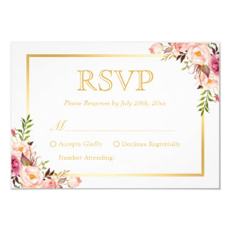 "Elegant Chic Gold Pink Floral Wedding RSVP Reply 3.5"" X 5"" Invitation Card"