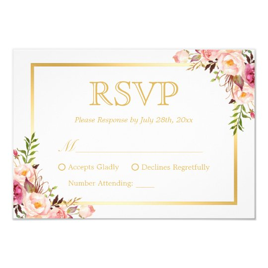 Elegant chic gold pink floral wedding rsvp reply card for Rsvp cards for weddings templates
