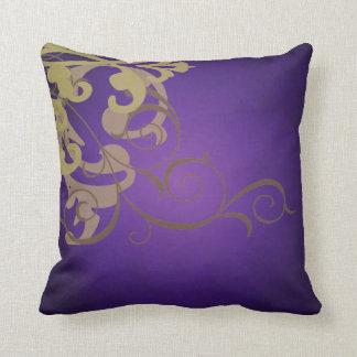 Elegant Chic Gold Scroll Purple Mojo Pillow