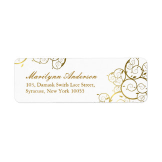 Elegant Chic Golden Spirals Wedding Address Labels