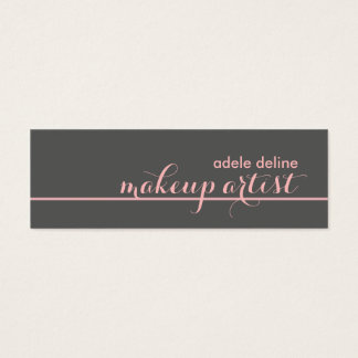 Elegant Chic Grey Pale Pink Line Makeup Artist Mini Business Card