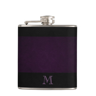 Elegant Chic leather look monogram Hip Flask