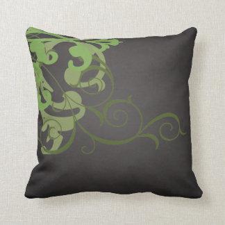 Elegant Chic Lime Scroll Black Mojo Pillow