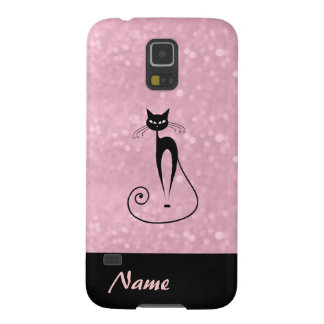 Elegant  chic luxury contemporary glittery cat galaxy s5 covers