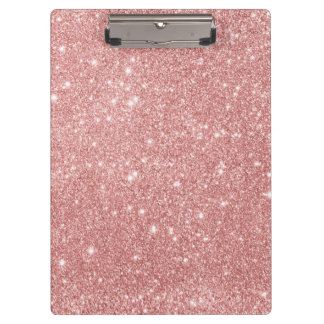 Elegant Chic Luxury Faux Glitter Rose Gold Clipboard