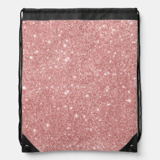 Elegant Chic Luxury Faux Glitter Rose Gold Drawstring Bag