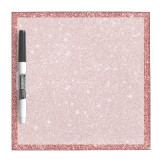 Elegant Chic Luxury Faux Glitter Rose Gold Dry Erase Board