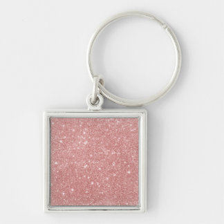 Elegant Chic Luxury Faux Glitter Rose Gold Keychain
