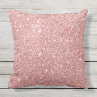 Elegant Chic Luxury Faux Glitter Rose Gold Outdoor Pillow