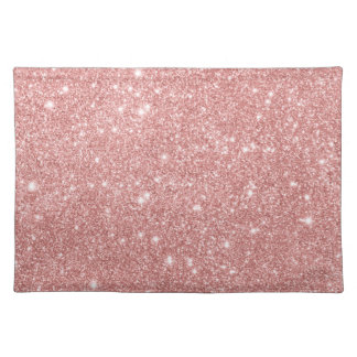 Elegant Chic Luxury Faux Glitter Rose Gold Placemat