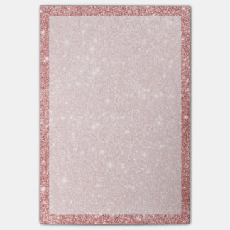 Elegant Chic Luxury Faux Glitter Rose Gold Post-it Notes