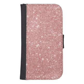 Elegant Chic Luxury Faux Glitter Rose Gold Samsung S4 Wallet Case