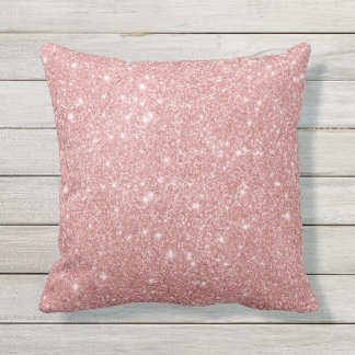 Elegant Chic Luxury Faux Glitter Rose Gold Throw Pillow
