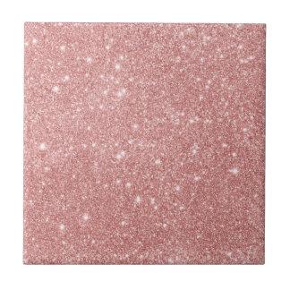 Elegant Chic Luxury Faux Glitter Rose Gold Tile