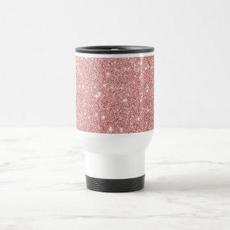 Elegant Chic Luxury Faux Glitter Rose Gold Travel Mug