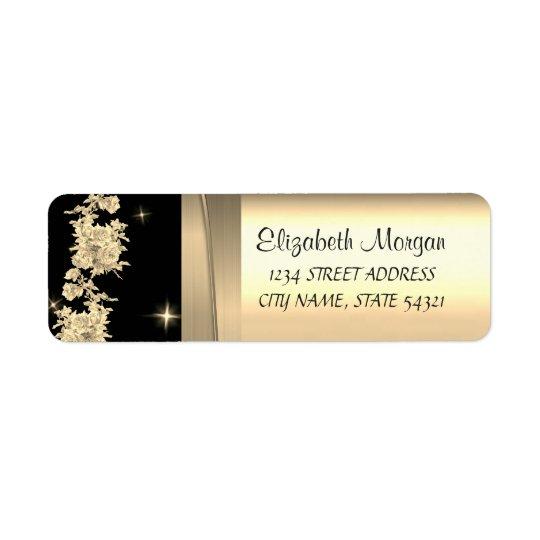 Elegant  Chic Luxury ,Faux Gold,Black,Roses