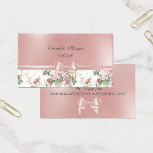 Pink bow business cards business card printing zazzle ca elegant chic luxury flowers pink ribbon bow business card colourmoves