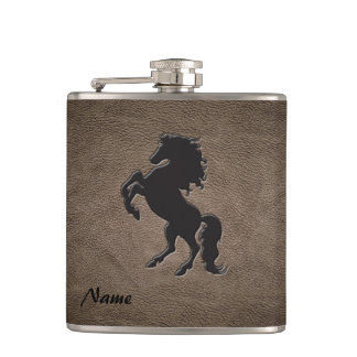 Elegant chic luxury  leather look horse flasks