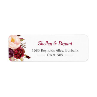 Elegant Chic Marsala Burgundy Red Autumn Floral Return Address Label