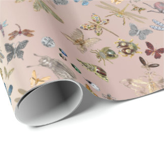 Elegant Chic Meadow Butterfly Insects Gems Diamond Wrapping Paper