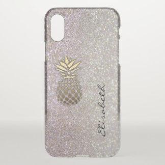 Elegant chic moden luxury faux glittery pineapple iPhone x case