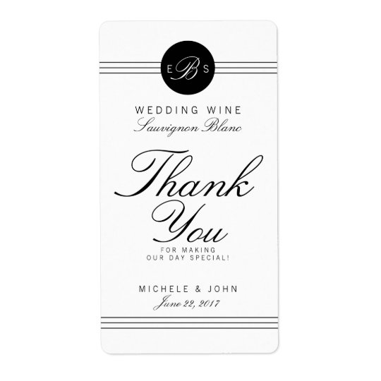 Elegant Chic Monogram Wedding Wine Custom Label Shipping Label