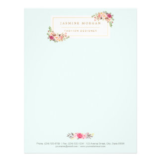 Elegant Chic Pastel Watercolor Floral Boutique Custom Letterhead