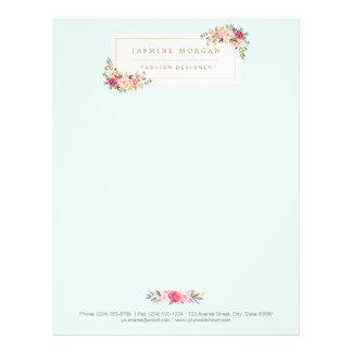 Elegant Chic Pastel Watercolor Floral Boutique Custom Letterhead