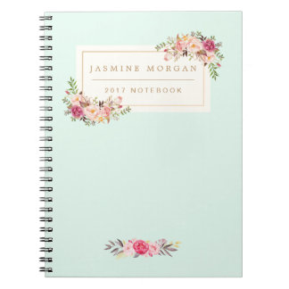 Elegant Chic Pastel Watercolor Floral Boutique Spiral Note Book