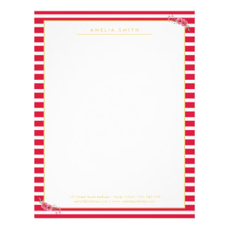 Elegant Chic Personalized Pink Stripes Pink Flower Letterhead Template