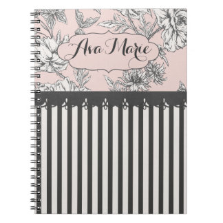 Elegant Chic Pink and Black Flora Striped Notebook