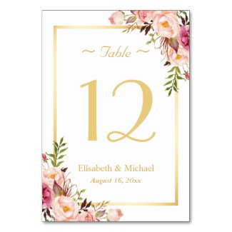 Elegant Chic Pink Floral Gold Wedding Table Number