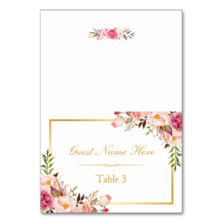 Elegant Chic Pink Floral Wedding Place Escort Table Card