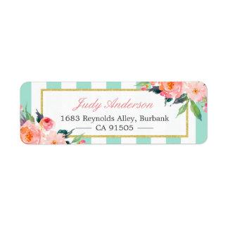 Elegant Chic Pink Flowers Mint Green Stripes Return Address Label