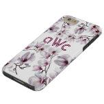 Elegant chic pink magnolia monogram tough iPhone 6 plus case