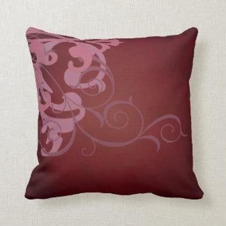 Elegant Chic Pink Scroll Red Mojo Pillow