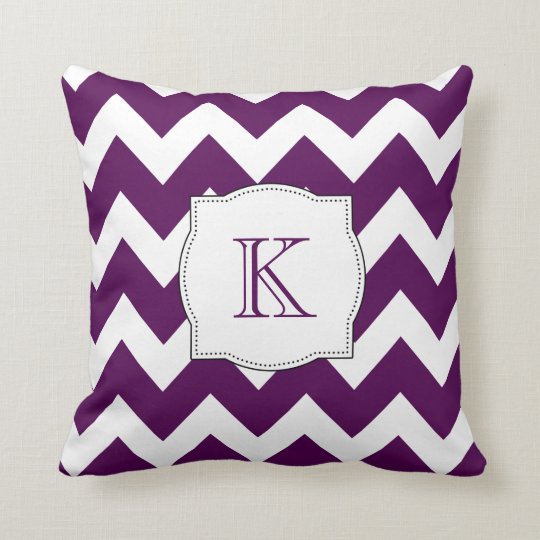 Elegant Chic Purple Chevron Pattern Monogram Throw Pillow