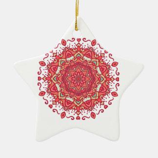 Elegant & Chic Red Floral Abstract Mandala Ceramic Star Ornament
