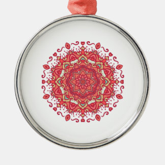 Elegant & Chic Red Floral Abstract Mandala Silver-Colored Round Ornament