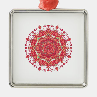 Elegant & Chic Red Floral Abstract Mandala Silver-Colored Square Ornament