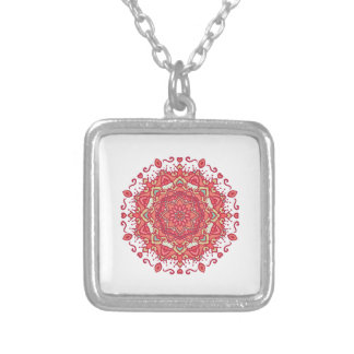 Elegant & Chic Red Floral Abstract Mandala Silver Plated Necklace