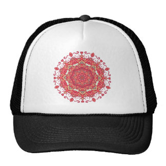 Elegant & Chic Red Floral Abstract Mandala Trucker Hat