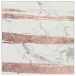 Elegant chic rose gold brush stripes white marble fabric