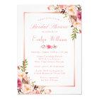 Elegant Chic Rose Gold Floral Bridal Shower Card
