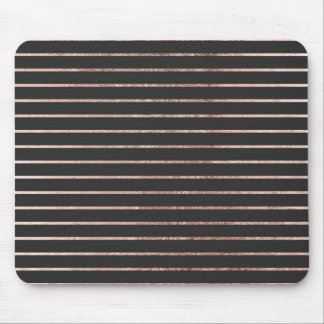 Elegant Chic Rose Gold Stripes and Black Mouse Pad